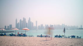 Palm beach dubai marina panoramic time lapse Stock Image