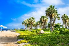 Palm beach with empty sunbeds against Constantinou Bros Athena Beach Hotel. The hotel was fully re. Paphos, Cyprus - July 20, 2017: Palm beach against Royalty Free Stock Image