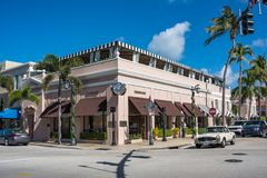 Worth Avenue in Luxurious Palm Beach, Florida. Palm Beach, Florida: December 6, 2017: Beautiful and wealthy Worth Avenue in the luxurious part of Palm Beach Stock Photo