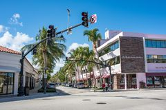 Worth Avenue in Luxurious Palm Beach, Florida. Palm Beach, Florida: December 6, 2017: Beautiful and wealthy Worth Avenue in the luxurious part of Palm Beach Stock Photos