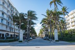 Worth Avenue in Luxurious Palm Beach, Florida. Palm Beach, Florida: December 6, 2017: Beautiful and wealthy Worth Avenue in the luxurious part of Palm Beach Royalty Free Stock Photo