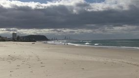 Palm Beach, Gold Coast, QLD, Αυστραλία, που φαίνεται ο Βορράς προς τον παράδεισο Surfer ` s απόθεμα βίντεο
