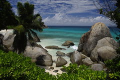 Palm beach with granite rocks, Mahe, Seychelles Stock Images