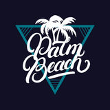 Palm Beach hand written lettering with palms. Vintage tee apparel fashion print. Hand drawn typographic art. Vector Illustration Stock Illustration