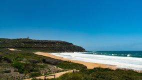 Palm Beach near Sydney on a hot summers day. The home of tv show `Home and Away Royalty Free Stock Photo