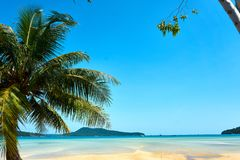 Palm beach at nice sunny summer day. Koh Rong Sanloem island, Saracen Bay. Cambodia, Asia stock image