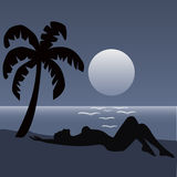 Palm beach night. With girl Stock Image