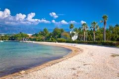 Palm beach in Novalja on Pag island Stock Photo