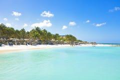 Palm Beach på Aruba Arkivfoto