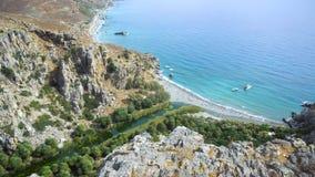 Palm beach Preveli in Crete Greece stock video