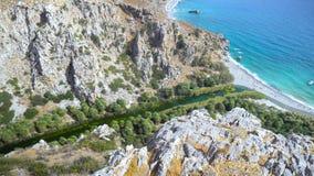 Palm beach Preveli in Crete Greece stock video footage