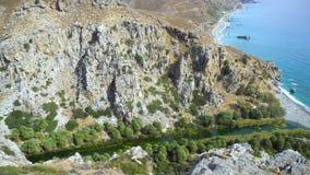 Palm beach Preveli in Crete Greece stock footage