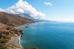 Palm beach in Preveli Stock Image