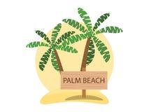 Palm Beach, progettazione di logo Modello di estate di ricreazione, turismo Vettore Immagini Stock Libere da Diritti