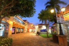 Palm Beach que contiene hoteles y restaurantes en Aruba Fotografía de archivo