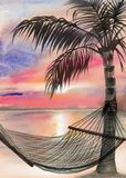 Palm beach resort. Tropical resort sunset view with a palm and a hammock Stock Image