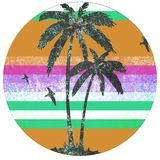 Palm beach retro logo. A great palm and beach retro vintage logo Stock Photo