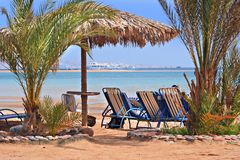 Palm Beach in Rotem Meer   Lizenzfreie Stockfotos