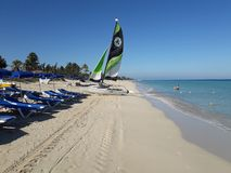 Palm beach in Santa Maria del Mar, Cuba royalty free stock images