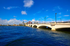 Palm Beach skyline  royal Park bridge Florida Stock Images