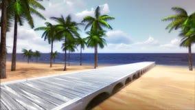 Palm Beach tropicale avec le pont en bois de construction et la mer calme illustration stock