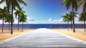Palm Beach tropicale con il ponte di legno vuoto Fotografia Stock Libera da Diritti