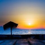 Palm beach umbrella Stock Photo