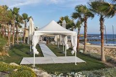 Palm beach wedding pavilion Royalty Free Stock Photos