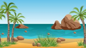 Palm- Beachlandschaftshintergrund mit tropischen Palmen, Felsen und Meer Stockfotografie