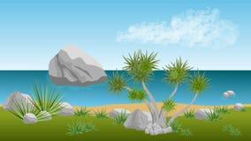 Palm- Beachvektorlandschaftshintergrund Stockfotos
