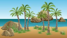 Palm- Beachvektorlandschaftshintergrund Stockfoto