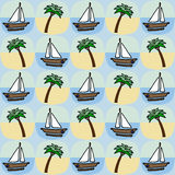 Palm and boat seamless pattern. On blue Stock Photography