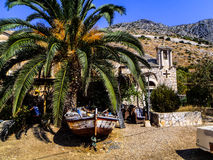 Palm with a boat Royalty Free Stock Images