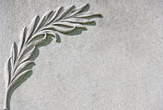 Palm Branch Carved on White Marble Stone background Stock Photos