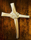 Palm Branch On Old Wood Seat At Sunday Mass Royalty Free Stock Photo