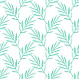 Palm branch. Seamless pattern with leaves. Hand-drawn background. Vector illustration. Royalty Free Stock Photos