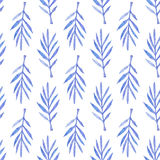 Palm branch. Seamless pattern with leaves. Hand-drawn background. Vector illustration. Real watercolor drawing Royalty Free Stock Photography
