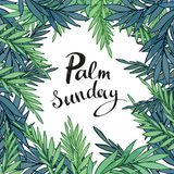 Palm branches surrounding Palm Sunday text on white background. vector illustration