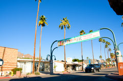 Palm Canyon Dr and palm trees in Palm Springs Stock Image