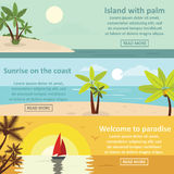Palm coast rest banner horizontal set, flat style. Palm coast rest banner horizontal concept set. Flat illustration of 3 palm coast rest vector banner horizontal Stock Image