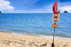 Palm Cove Cairns  danger do not swim stingers Royalty Free Stock Image