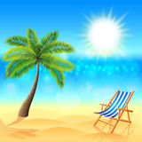 Palm and deck chair on sunny beach vector Royalty Free Stock Photography