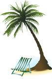 Palm deckchair Royalty-vrije Illustratie