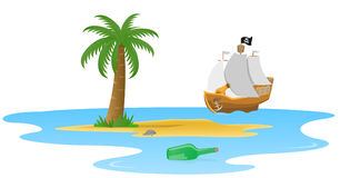 Palm on a desert island. A bottle with a letter and a pirate ship Royalty Free Stock Photo