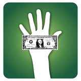 Palm with dollar bill Stock Photography