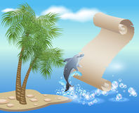 Palm, dolphin  and  parchment Stock Photography