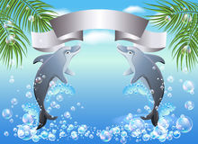 Palm, dolphin  and  ribbon Stock Photos