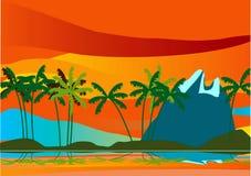 _Palm e Mountane di paesaggio illustrazione di stock