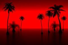 Palm en zonsondergang vector illustratie