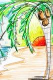 Palm en zonsondergangtekening Stock Afbeeldingen
